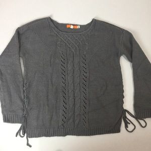 ONE A sweater side lace up grey size medium